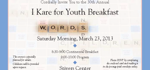 Please join us for the 30th annual I Kare for Youth Breakfast For over eighty years the leaders and staff of Kare Youth League have been working together with […]